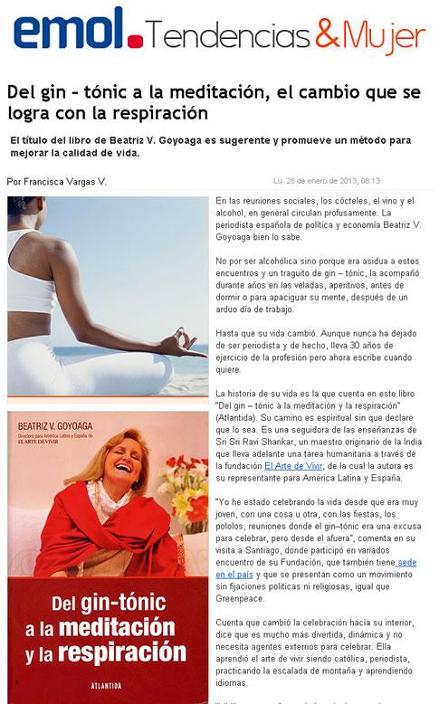 Nota en El Mercurio de Chile Beatriz Goyoaga Del Gin Tonic a la Meditación